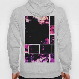 Magenta & Deep Fuschia Abstract Floral with Boxed Images Hoody