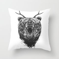 Angry bear with antlers Throw Pillow