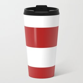 Wide Horizontal Stripes - White and Firebrick Red Travel Mug