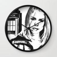 tyler spangler Wall Clocks featuring Rose Tyler by Grace Thanda