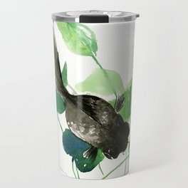 Black Moor Aquarium Fish, Elegant black and green design aquatic black fish Travel Mug