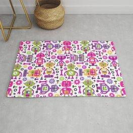 Pink Green Kids Robot Girl Pattern Rug