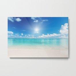 Beach Sun Clouds Ocean Blues Sunshine Waves Seaside Metal Print