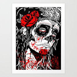 Girl With Sugar Skull, Day of the Dead Art Print