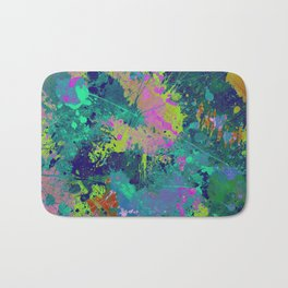 Messy Art I - Abstract, paint splatter painting, random, chaotic and messy artwork Bath Mat