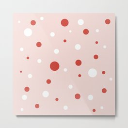 Ice Cream Dots Minimalist Pattern in Blush Pink, Red, and White Metal Print