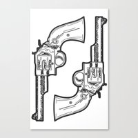 guns Canvas Prints featuring Guns by Calyx Studio