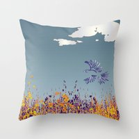 pigeon Throw Pillows featuring pigeon by Shelby Claire