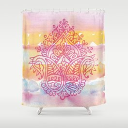 Watercolor & Indian Woodblock Design Shower Curtain