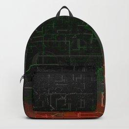 Dark Red Black Emerald  Multi-Pattern Overlay Design Backpack