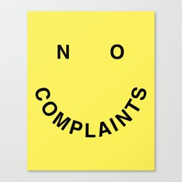 No Complaints Yellow + Black Canvas Print