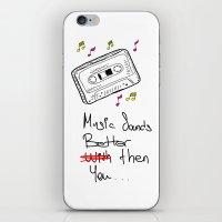 cassette iPhone & iPod Skins featuring Cassette by Melis Kalpakçıoğlu