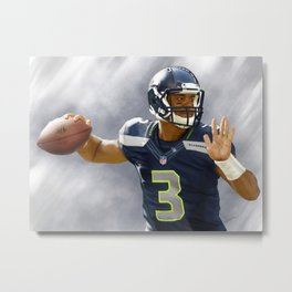 """Russell Wilson's Pass"" Painting by Jae Mez Metal Print"