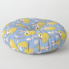 Sloth pattern in blue Floor Pillow
