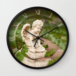 Little angel statue kneel Wall Clock