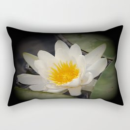 White Waterlily On A Dark Background #decor #society6 Rectangular Pillow