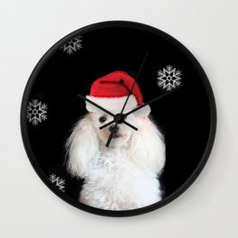Christmas poodle dog Wall Clock