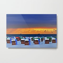 BEFORE THE STORM - beach chairs - Baltic Sea Metal Print