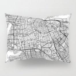 Amsterdam White Map Pillow Sham