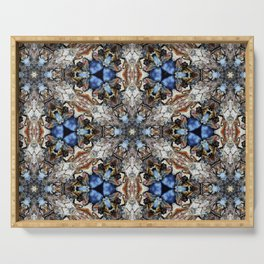 River Birch bark with blue sky kaleidoscope Serving Tray