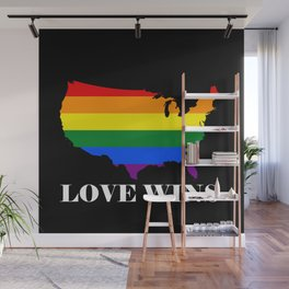 Love Wins Map Black Background White Text Wall Mural