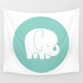 Mod Baby Elephant Teal Wall Tapestry