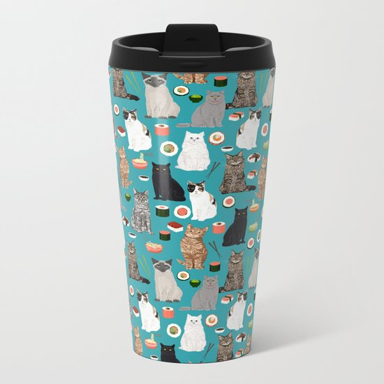 Cat Sushi pattern by pet friendly cute cat gifts for pet lovers foodies kitchen Metal Travel Mug