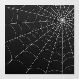 Spiderweb on Black Canvas Print