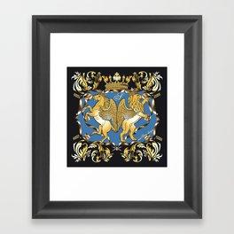 Horse & Leo Royal Blue Framed Art Print