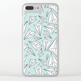 Paper Airplanes Mint Clear iPhone Case