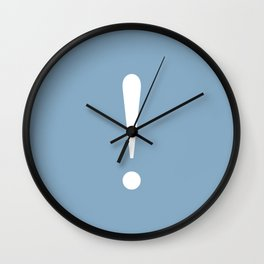 Exclamation point on placid blue color background Wall Clock