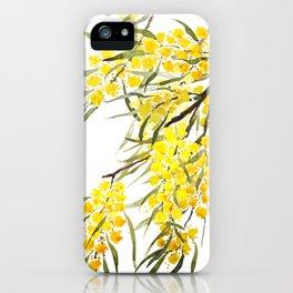 Godlen wattle flower watercolor iPhone Case