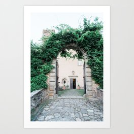 Castle Gate Overgrown by Ivy | Wanderlust Wall Art |  Pastel Travel Photo Italy Art Print