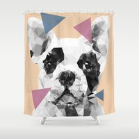 frenchie Shower Curtains featuring Frenchie by Esco