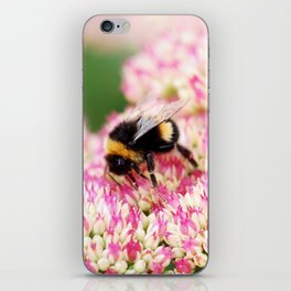 pink flowers and bee iPhone Skin