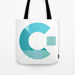 Rotation Alphabet 'C' On White Tote Bag