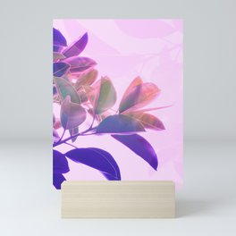 Elegant Tropical Rubber Foliage 1 - Pink and purple Mini Art Print