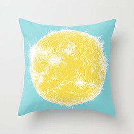 Large Sun Print, blue & yellow solar design by Little Lark Throw Pillow
