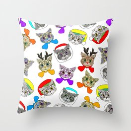 Holiday Festive Party Cats Throw Pillow