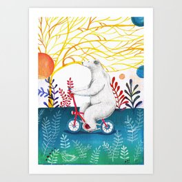 bear on bike Art Print
