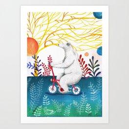 bear on bike Art Print