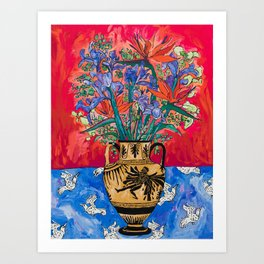 Icarus Floral Still Life Painting with Greek Urn, Irises and Bird of Paradise Flowers Art Print