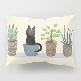 Three succulents and one kitten Pillow Sham