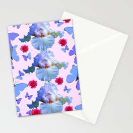 ROSES PASTEL IRISES BLUE-PURPLE BUTTERFLIES ABSTRACT Stationery Cards
