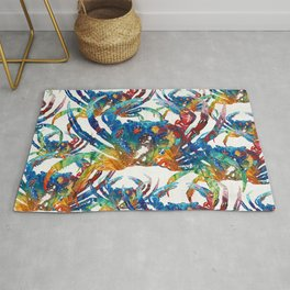Bright Colorful Crab Collage Art by Sharon Cummings Rug