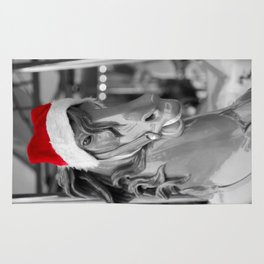 Santa Horse 1 Black and White with Red Hat Rug