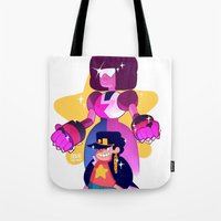 jjba Tote Bags featuring steven and his stand by JohannaTheMad