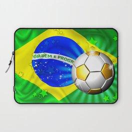 Brazil Flag Gold Green and Soccer Ball Laptop Sleeve