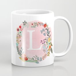 Flower Wreath with Personalized Monogram Initial Letter L on Pink Watercolor Paper Texture Artwork Coffee Mug
