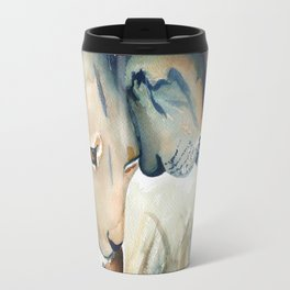 Watercolor Lion and Lioness Travel Mug